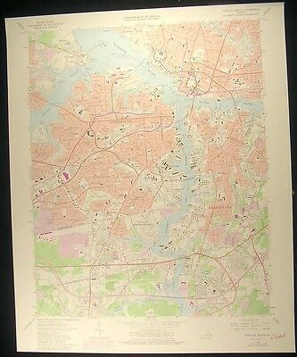 Norfolk Virginia Portsmouth Chesapeake 1980 vintage USGS original Topo chart map