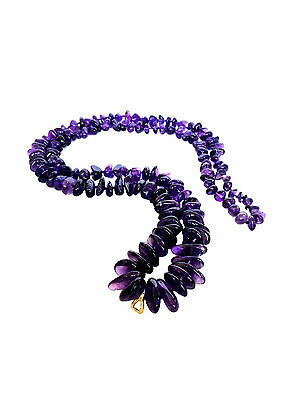 AMETHYST Polished Raw Graduated Nugget Beaded Necklace Purple Gold