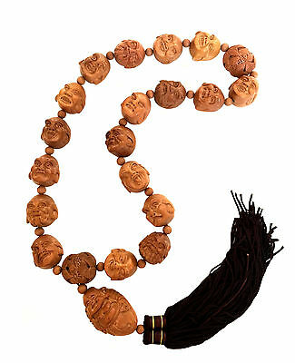 CHINESE LUOHAN Carved Nut Wood Holy Arhat Necklace Buddhist Mala Prayer Beads