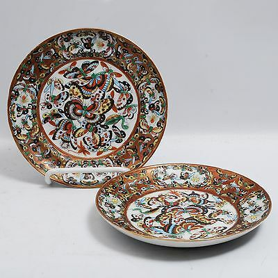 Pair Chinese Export Porcelain Thousand Butterfly Butterfly Dishes Antique