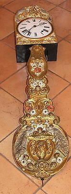 FRENCH ANTIQUE COMTOISE WALL CLOCK Nicolas Mathieu Baroque Peacocks Flowers