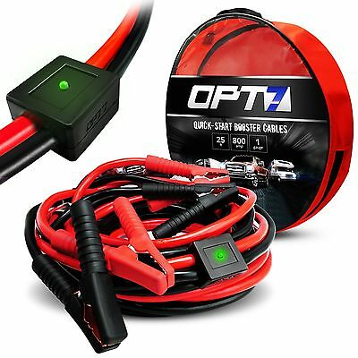 OPT7 25ft 1 Gauge AWG Jumper Cables Smart Booster LED 800amp Full Copper Rubber