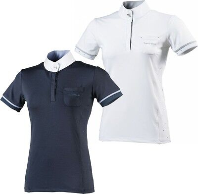 Equi-Theme Cristal Ladies Show Shirt Competition Polo Shirt Navy Or White 987030