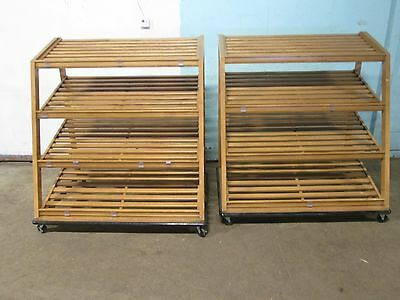 Lot Of 2 Commercial H.d. 4 Tiers Mobile Wooden Bakery Display Merchandiser Rack