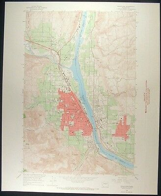 Wenatchee Washington Chelan Douglas Co 1968 vintage USGS original Topo chart map