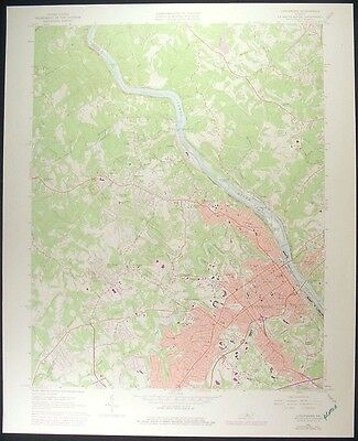 Lynchburg Virginia Amherst County 1978 vintage USGS original Topo chart map
