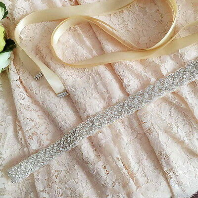 Shiny Bridal Handmade Ribbon Rhinestone Pearl Crystal Wedding Dress Belt Sash OP