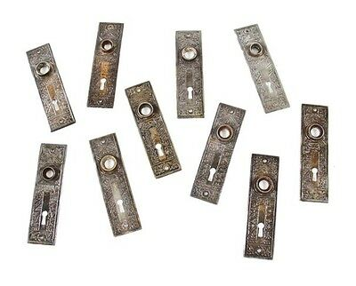 "10 Matching 19Th Cent Eastlake ""ceylon"" Pattern Wrought Steel Backplates"