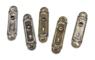 5 Matching 1910-1920 Stamped& Brushed Steel Passage Door Backplates