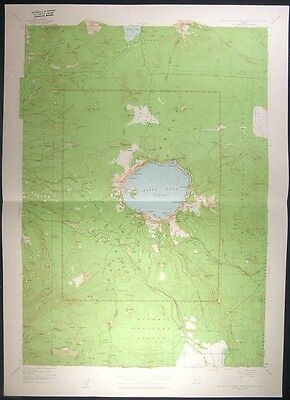Crater Lake Cascades National Park Oregon 1963 USGS original Topo chart map