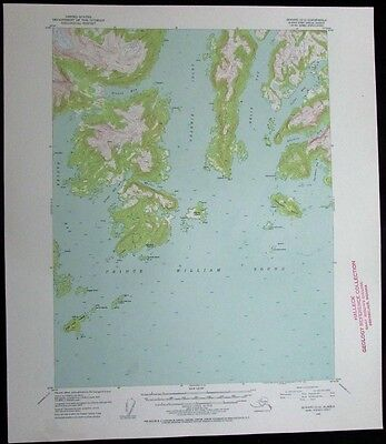 Seward Alaska Prince William Sound Eagle Bay vintage 1954 old USGS Topo chart