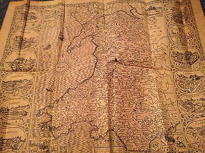 Replica Map Of Old Wales Cymru 1610 On Antiqued Parchment