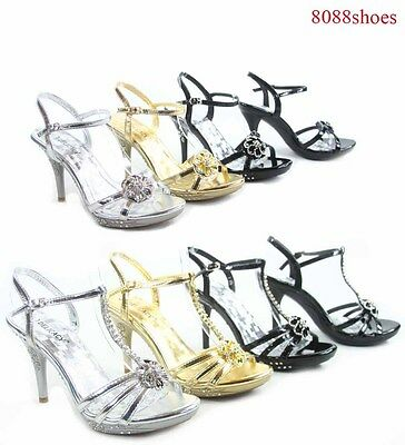 Women's Sexy Bridal Open Toe Stiletto Heel Evening Party Shoes Size 5 - 11 NEW
