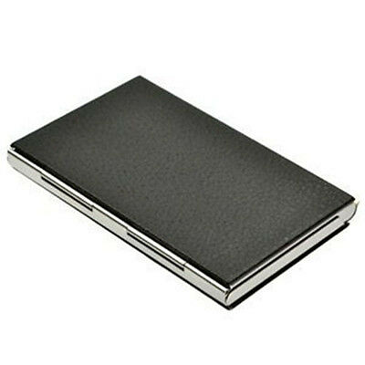 Name Card Case Black Creative Stainless Steel PU Business Card Holders Leather
