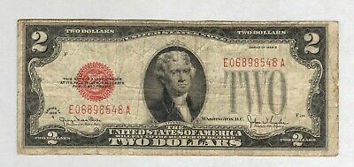 Antique 1928 $2 Dollar Bill USA Red Seal OLD TWO United States Legal Tender Note