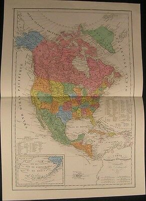 North America Territories 1856 antique engraved hand color map