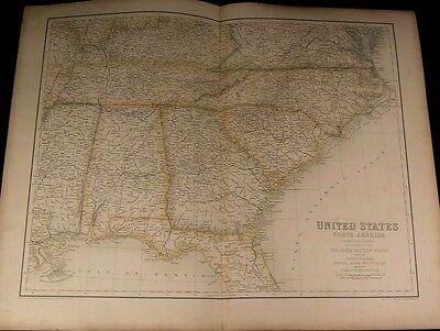 southern United States Alabama Mississippi Georgia old 1855 Fullarton folio map