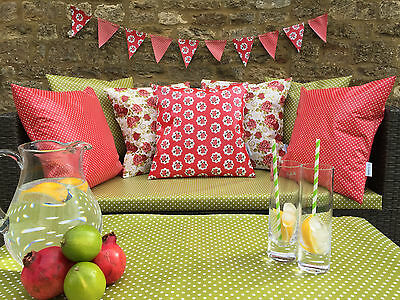 Red Geometric WATERPROOF OUTDOOR PVC COATED GARDEN BENCH SEAT CUSHIONS. BUNTING
