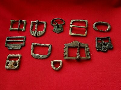 Ancient ROMAN LEGIONARY,CELTIC, BYZANTINE bronze buckles . Lot with 11 pieces