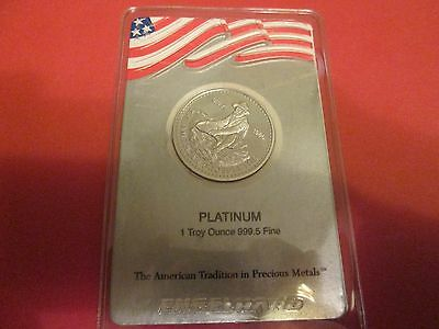 "Very Rare 1986 Engelhard ""banner"" 1Oz Platinum 9995 American Prospector In Assay"