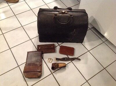 Antique Medical Doctor Bag Emdee by Schell Black Leather Original Condition