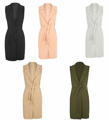 Womens Celeb Sleeveless Belted Crepe Italian Open Ladies Long Waistcoat Jacket