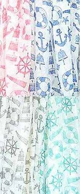 D8091. NAUTICAL print  Oblong Scarf Lot of 4