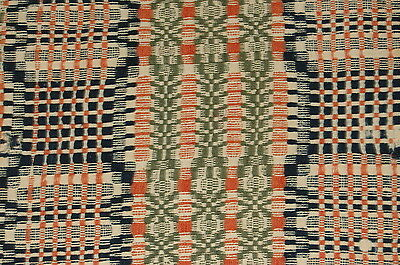 Primitive Three Colored Antique Woven Coverlet Piece