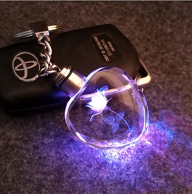 LED Key Chain For Couples Flashlight Key Rings Holder Fantastic Rose Tritium
