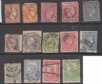 (Q22-136) 1861-1901 Greece 14stamps some of the 1st Greek stamps