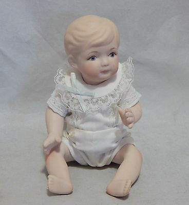 """1989 Signed Phyllis Parkins 8"""" Porcelain Baby Doll Jointed Arms and Legs"""