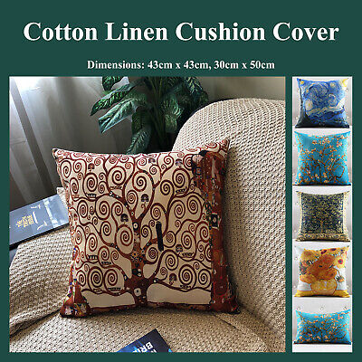 Art Paintings Natural Linen Printed Throw Cushion Cover Pillow case Home Decor