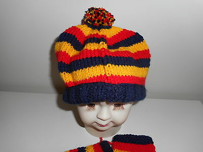 BABY FOOTY BEANIE AND  BOOTEES-Adelaide Crows