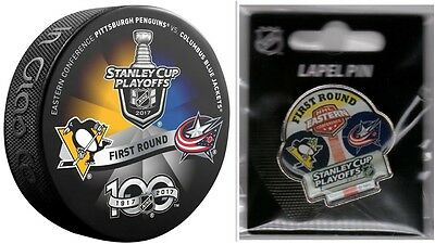 2017 Playoffs Puck & Pin 1St Round Pittsburgh Penguins Columbus Blue Jackets