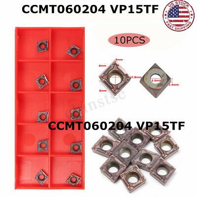 10PCS Lot CCMT060204 VP15TF CCMT21.51 Carbide Insert Blade For Turning Tool US