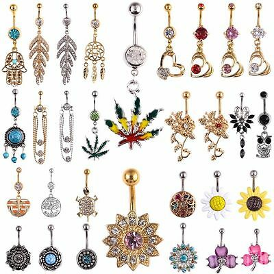 Crystal Dangle Ball Barbell Bar Belly Button Navel Ring Body Piercing Jewelry