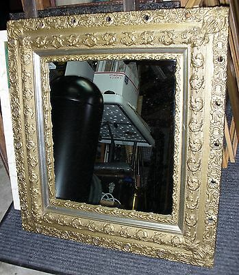 - Antique Ornate Wood Victorian Gold Gilt Gesso Picture Frame With Mirror -