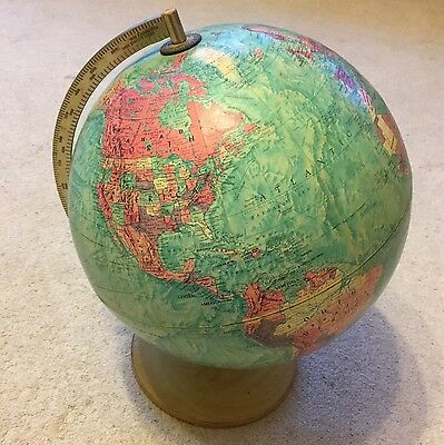 Vintage Retro 1960s Philips 12in Stereo Relief Globe Wood Veneer Brass Stand