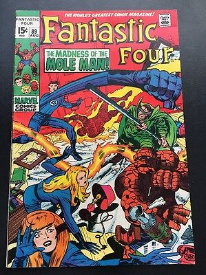 Fantastic Four Vol 1 # 89 Madness Of The Mole Man Cents Issue, Silver Age
