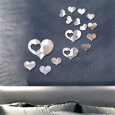 Heart Mirror Tile Decal Sticker Wall Art Craft Acrylic Self Adhesive Mosaics