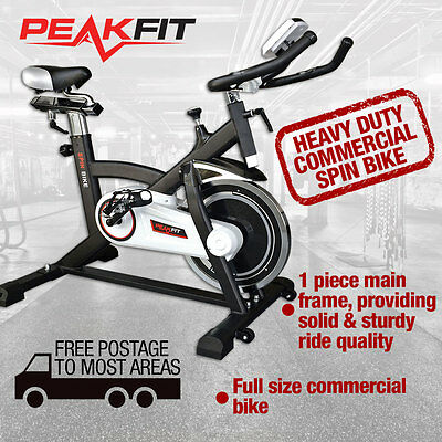 Commercial Spin Bike Flywheel Exercise Home Fitness Adjustable Gym Pulse Monitor