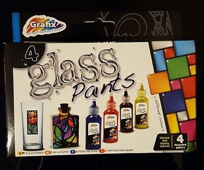 Glass Paints Vibrant Fast Drying Art & Craft Kids Hobby Gift Decoration 4 Pack