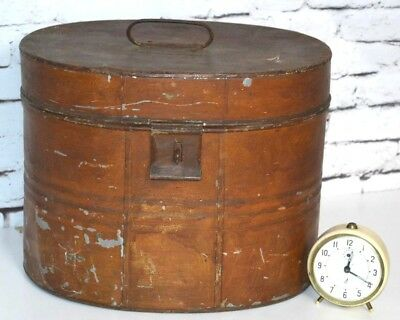 Antique Victorian Large Tin Hat Box Storage case - FREE Shipping [PL3373]