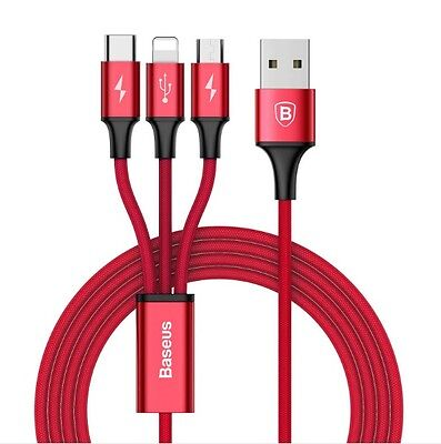 Genuine Baseus 3in1 Micro USB Lightning Type C Data Charge Cable iPhone Samsung