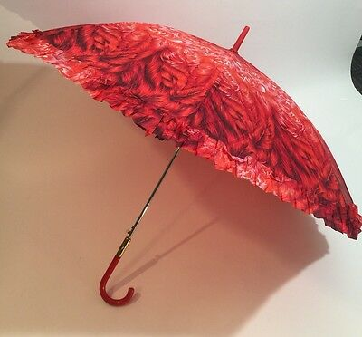 Vintage Umbrella Shades of Red Tulips Red Curved Handle New with Tag Beautiful!