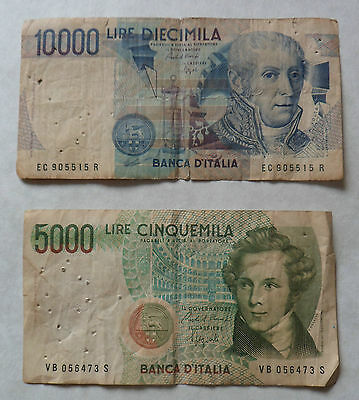Italy Banknotes 10,000 & 5000 Lire Used Notes