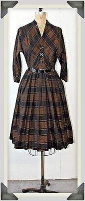 1950s Vintage Women's Full Skirt Dress Plaid Taffeta Blend 50's Rockabilly Sz 14