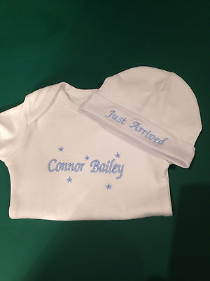 Personalised embroidered  baby onesie and beanie outfit