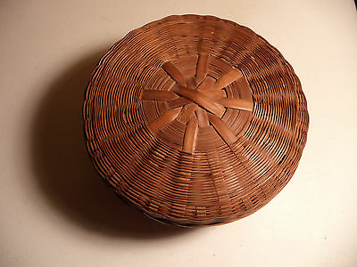 Antique CHINESE WICKER SEWING BASKET!!