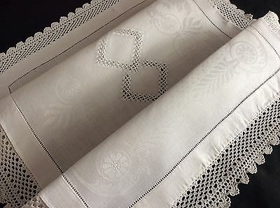 Gorgeous Antique Irish Linen Damask Butlers Tray Cloth ~ Lace/embroidery